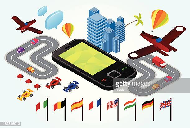Phone surrounded by flags, airplanes and cars - roaming theme