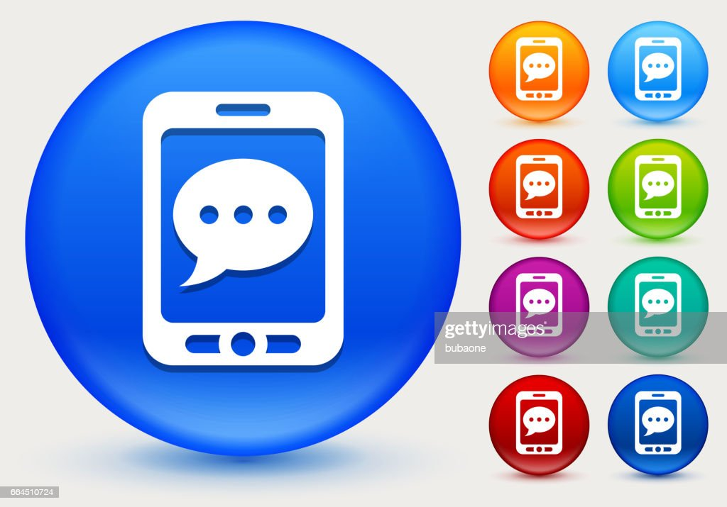 Phone Texting Icon on Shiny Color Circle Buttons