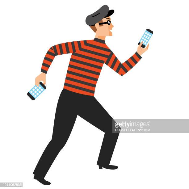 phone theft - scammer stock illustrations
