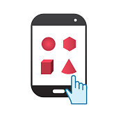 phone touch with pink math shapes vector illustration design