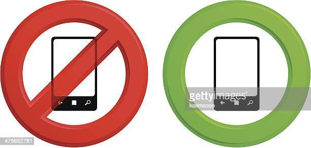 ilustrações de stock, clip art, desenhos animados e ícones de de telefone - proibido celular