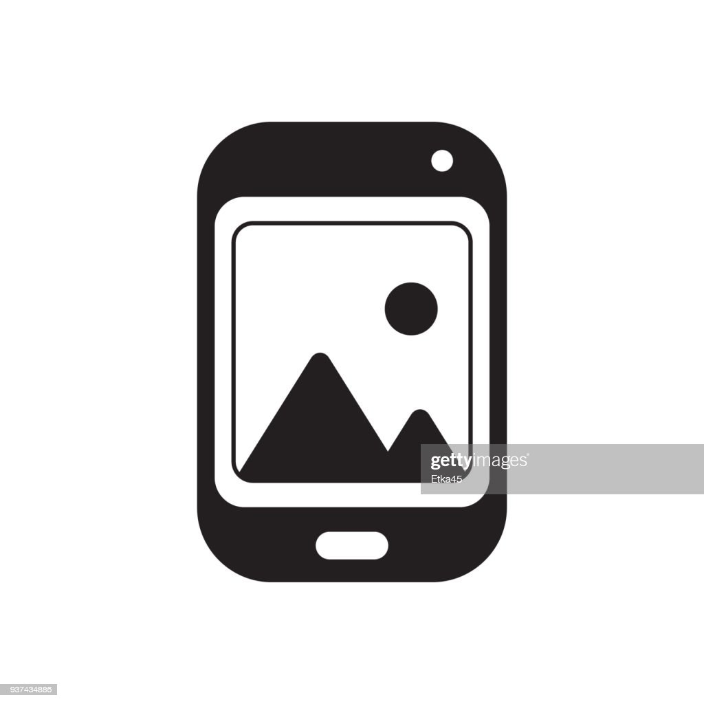phone with grey picture vector illustration design