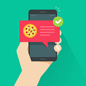 Phone with pizza on screen vector illustration, flat cartoon cellphone with food delivery notification, smartphone with bubble speech and tick image