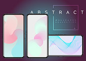 Phone X Abstract Fluid Vector Wallpapers. Pastel Colors on Device Screen.