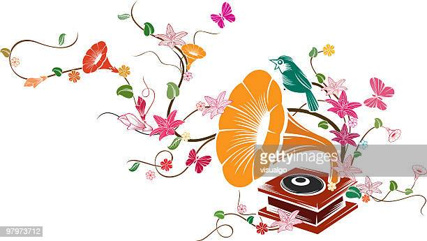 phonograph - gramophone stock illustrations, clip art, cartoons, & icons