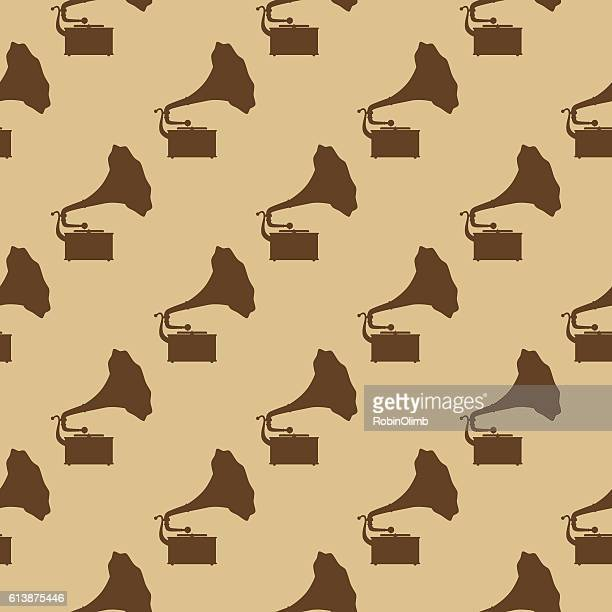 phonographs seamless pattern - gramophone stock illustrations, clip art, cartoons, & icons