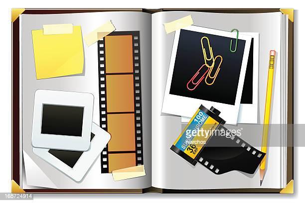ilustrações, clipart, desenhos animados e ícones de álbum de fotografia - livro de capa dura