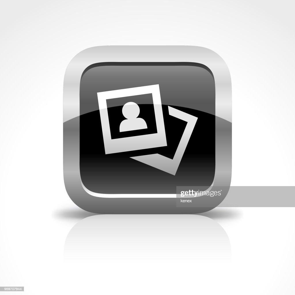 Foto- und glänzende Schaltflächensymbol : Stock-Illustration