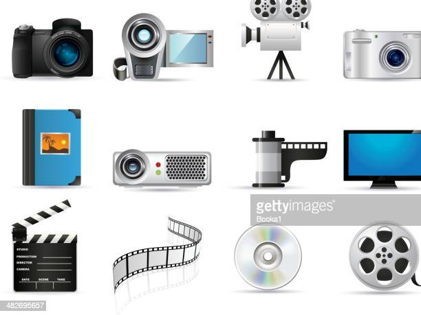 photo and video icons - digital camera stock illustrations
