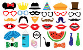 Photo booth accessory collection. Props retro party set. People face fake. Subjects for a photo shoot, session. Children's entertainment game. Vector illustration mustache, glasses, hat, monocle, tobacco pipe, fan, nipple.
