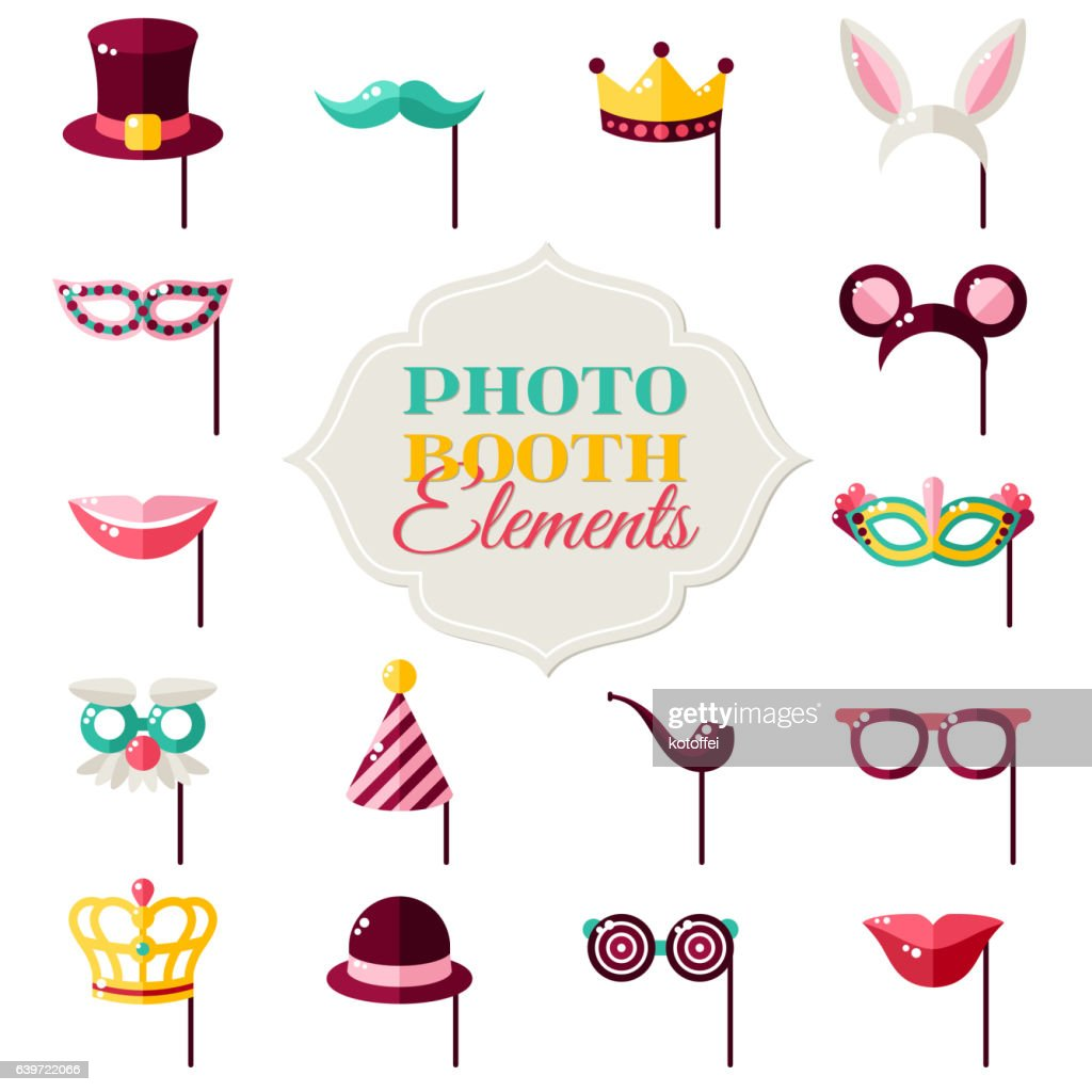 Photo Booth Elements Isolated on White