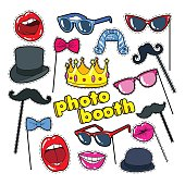 Photo Booth Props with Lips, Hat and Eyeglasses