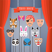 Photo booth props with masks for children vector