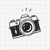 Photo camera doodle icon