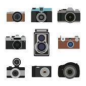 Photo camera flat icons set. Retro photography equipment. Cameras lens
