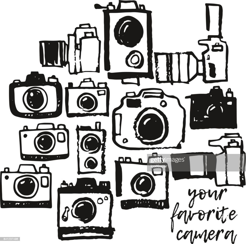 Photo camera hand drawing grunge doodle collection set