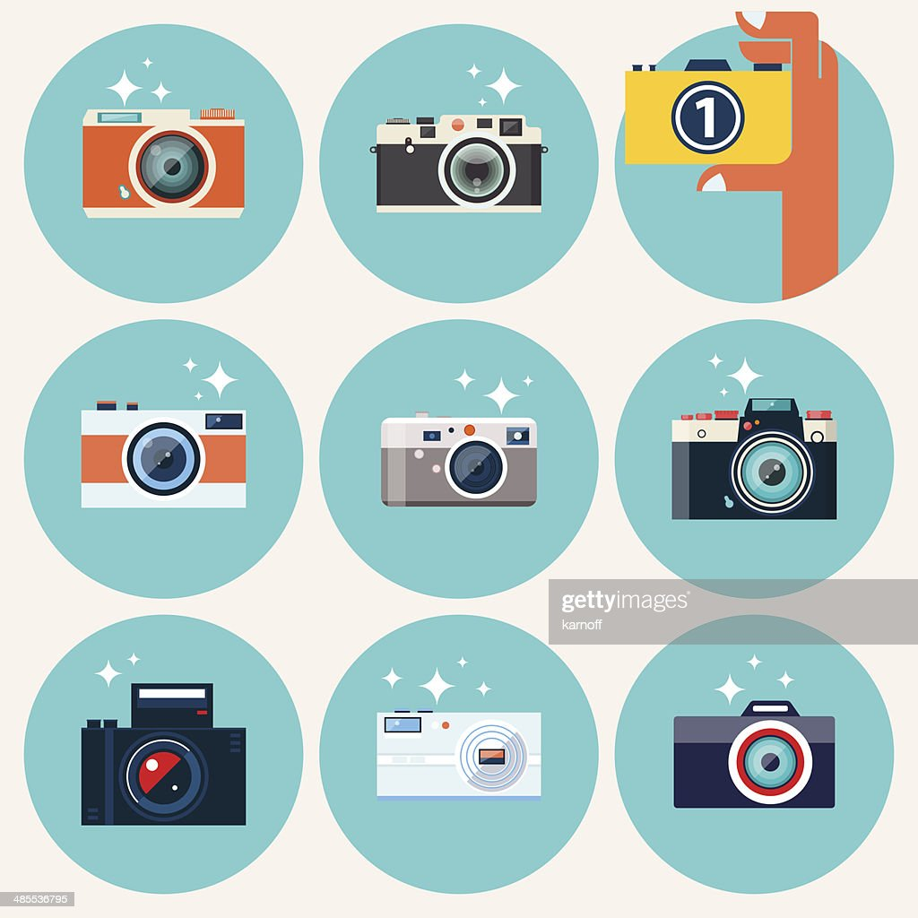 Photo camera icons set in flat style.