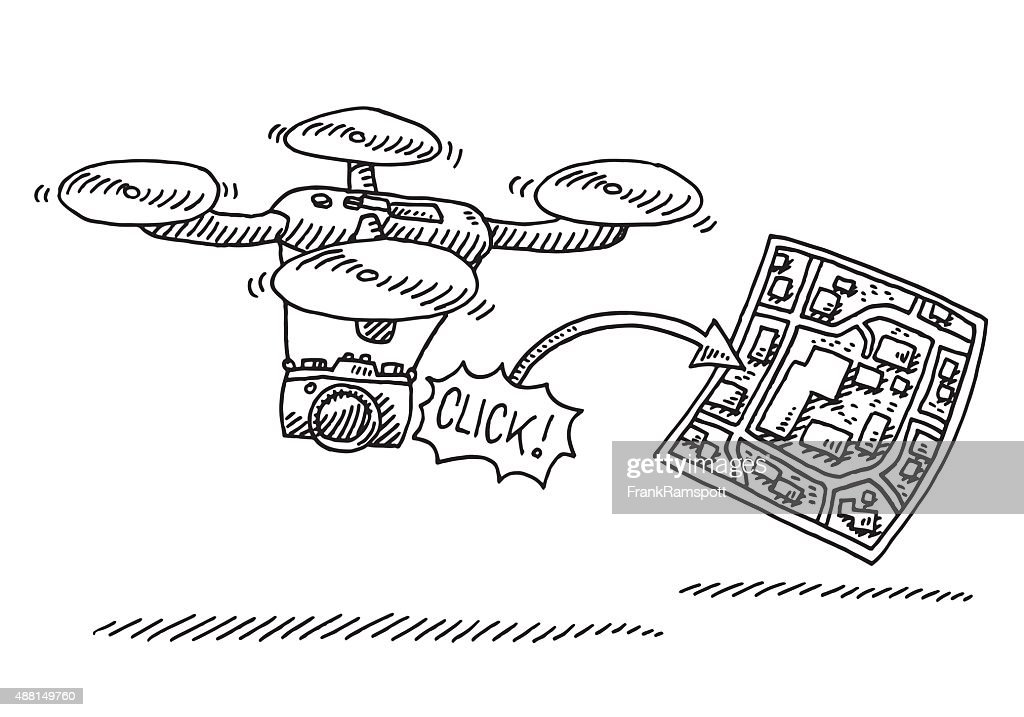 Photo Camera On Flying Drone Drawing Vector Art