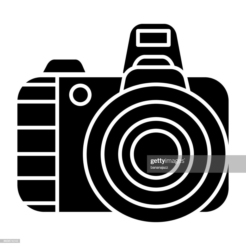 photo camera pro icon, vector illustration, black sign on isolated background