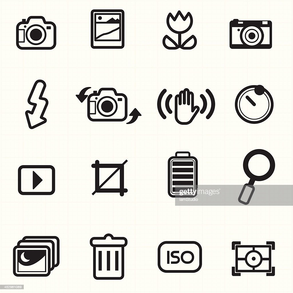 Photo camera setting icons vector