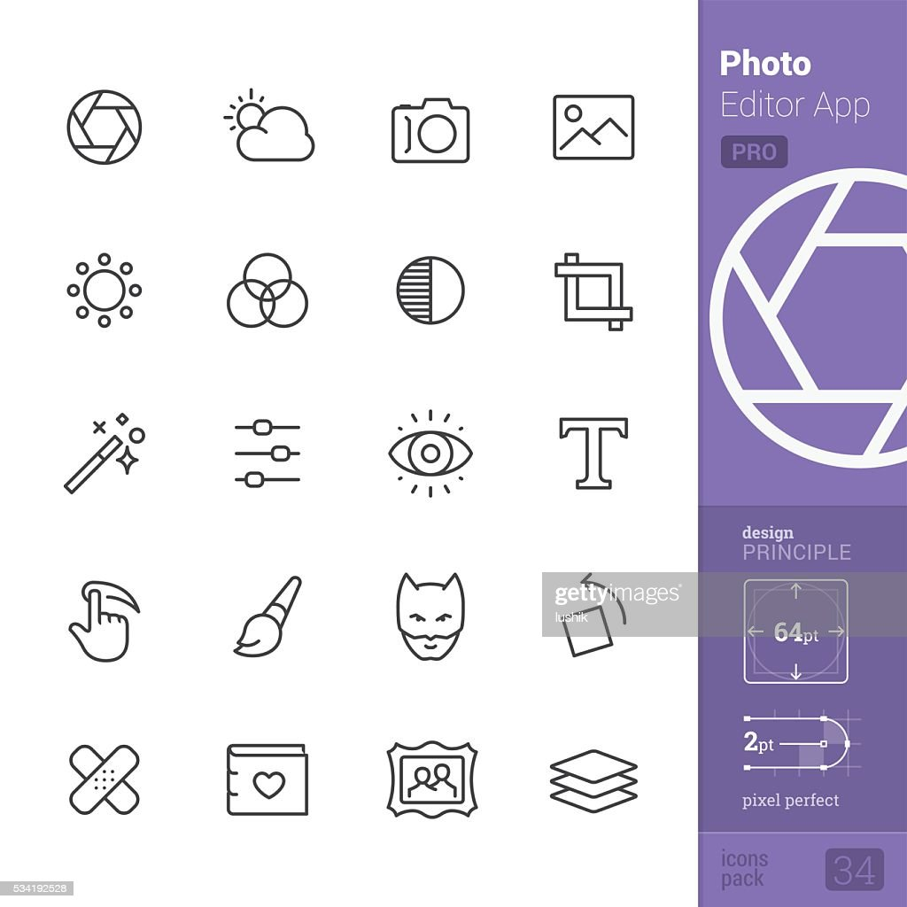 Photo Editor App Outline vector icons - PRO pack