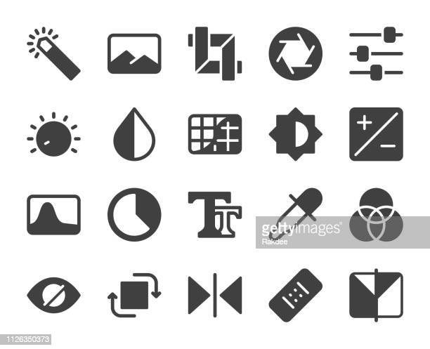 photo editor - icons - video editing stock illustrations, clip art, cartoons, & icons