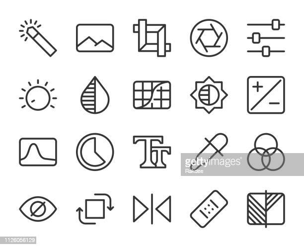 photo editor - line icons - bending stock illustrations
