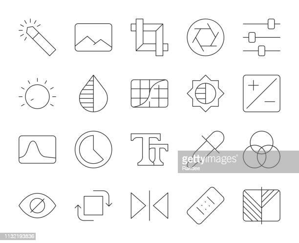 photo editor - thin line icons - multiple exposure stock illustrations