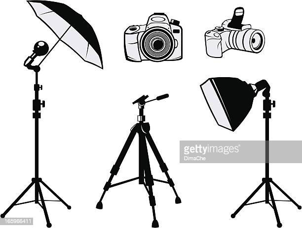 photo equipment - camera tripod stock illustrations, clip art, cartoons, & icons