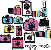 Photo film camera colorful hippie hand drawing grunge doodle collection set
