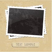 Photo frame background with a text sample on brown stripes