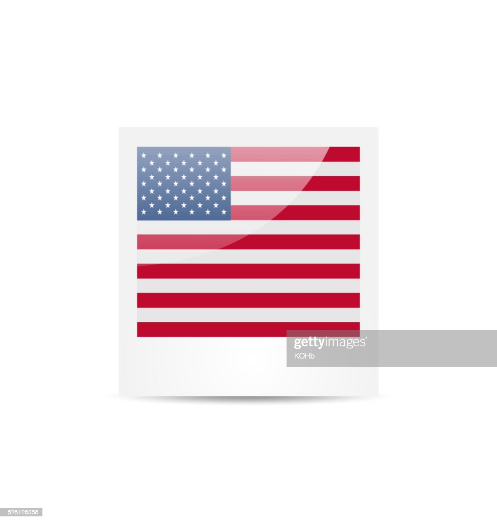 Photo frame in US national colors for Independence Day, isolated