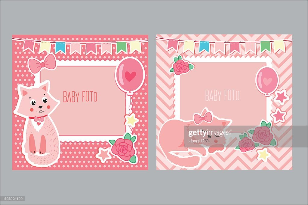 Photo Frames For Kids. Decorative Template For Baby Girl.