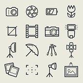 Photo icons set. Vector outline symbols.