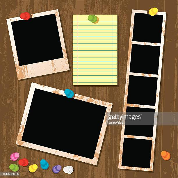 photo & paper interface - thumbtack stock illustrations, clip art, cartoons, & icons