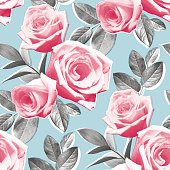 Photo Real Roses Wallpaper Pattern