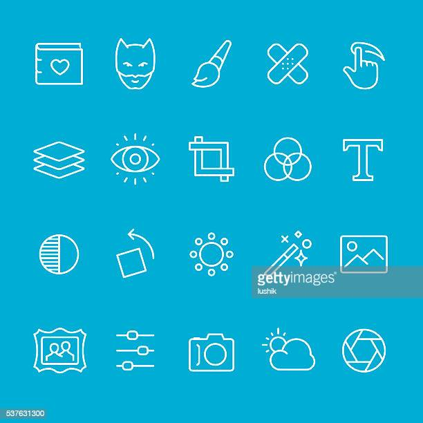 photo theme outline icons - photo editor stock illustrations, clip art, cartoons, & icons