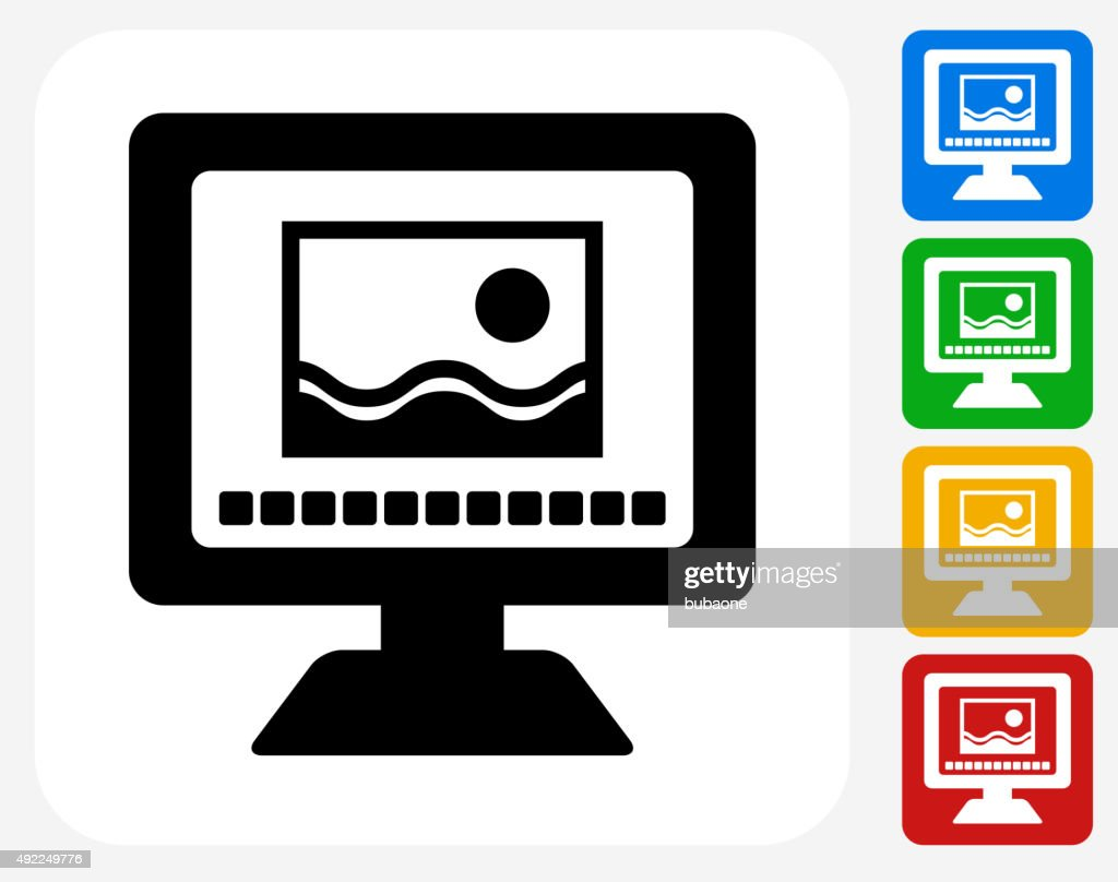Photo Viewing on Computer Icon Flat Graphic Design