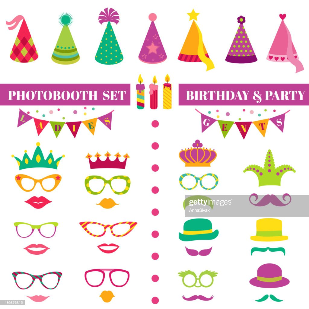 Photobooth Birthday and Party Set - glasses, hats, crowns, masks