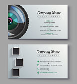 Photographer business card template. Design for photography studio