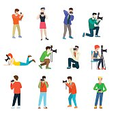 Photographer cameraman flat web infographic concept vector professional people profession icon set. Group creative young male female making photo studio outdoor travel.