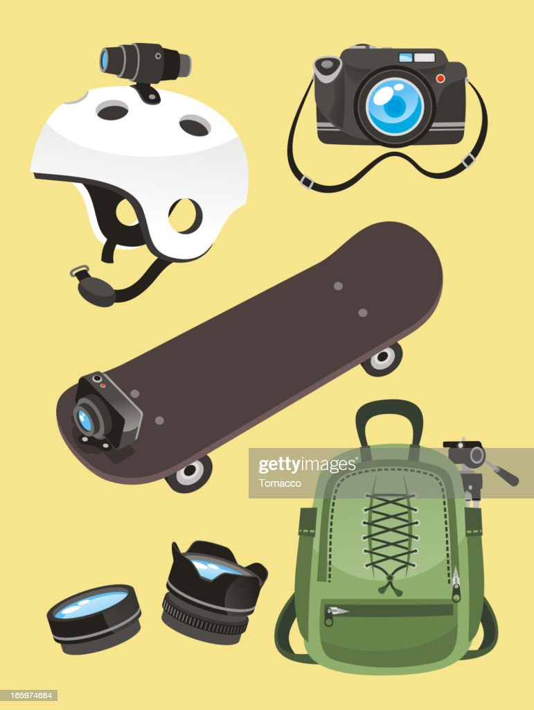 Photographer Equipment set Helmet camera skate go pro lens backpack