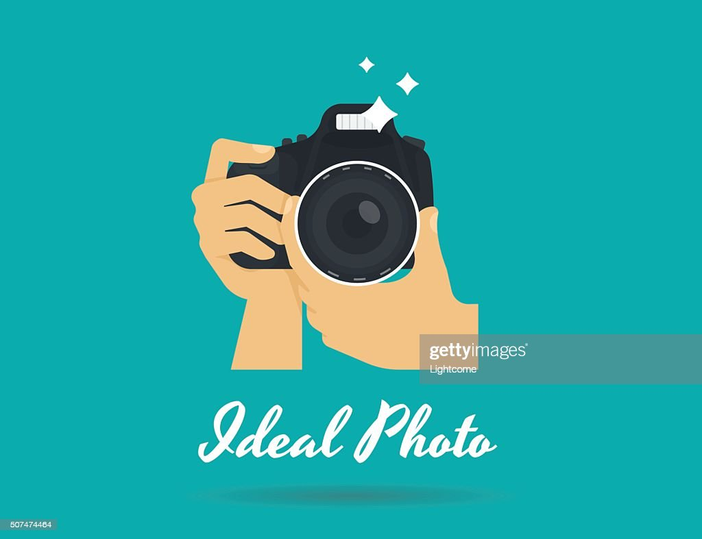 Photographer hands with camera flat illustration for icon or logo