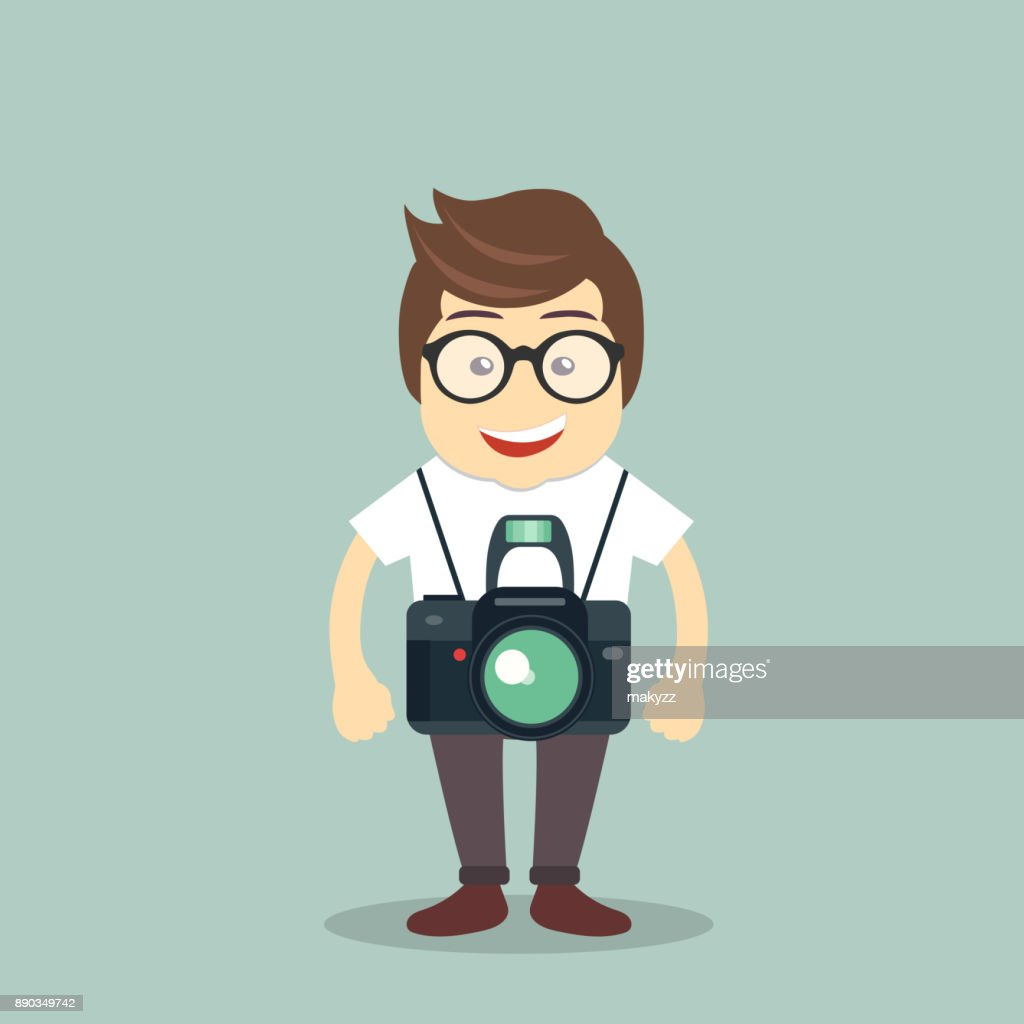 Photographer icon. Man standing with camera. Flat vector illustration