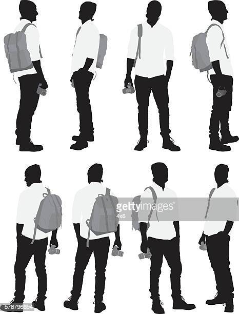 photographer in various actions - camera stand stock illustrations, clip art, cartoons, & icons