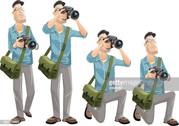 photographer - camera stand stock illustrations, clip art, cartoons, & icons