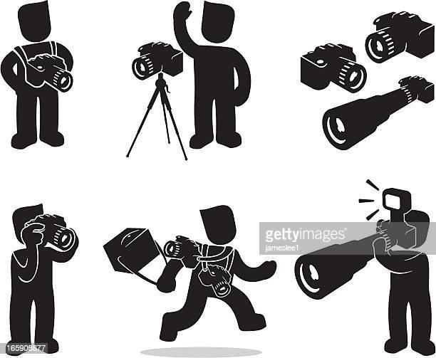 photographer - camera bag stock illustrations, clip art, cartoons, & icons