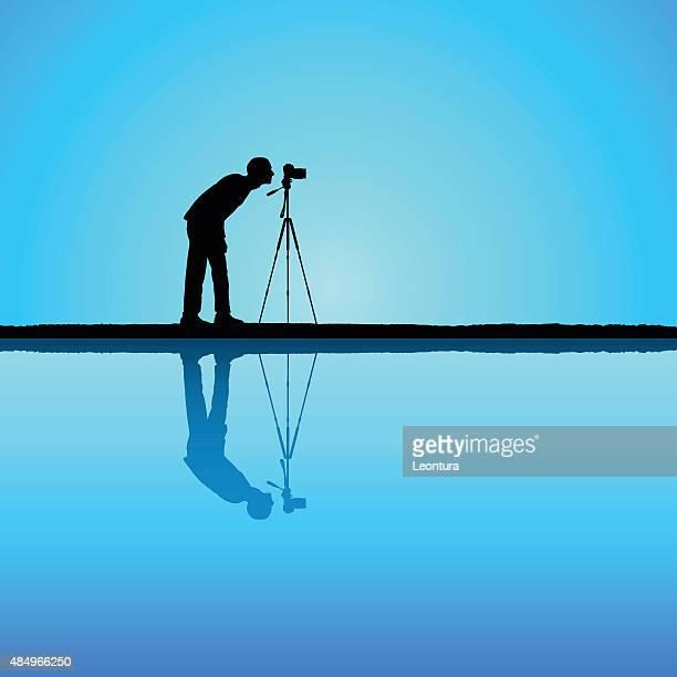 photographer - camera tripod stock illustrations, clip art, cartoons, & icons