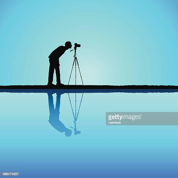 photographer - camera tripod stock illustrations, clip art, cartoons, & icons