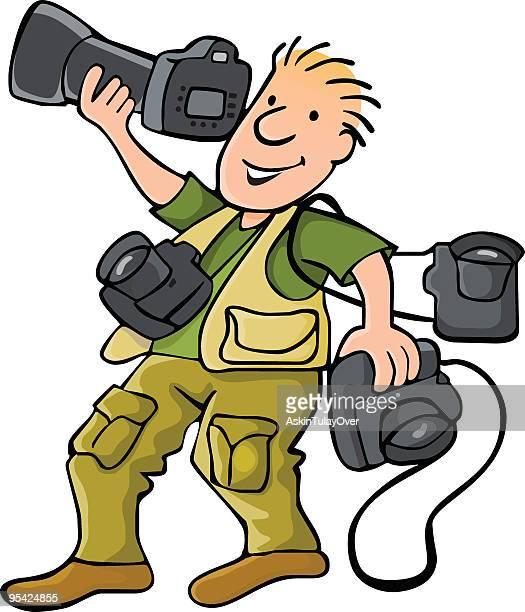 ilustraciones, imágenes clip art, dibujos animados e iconos de stock de fotógrafo - camara reflex